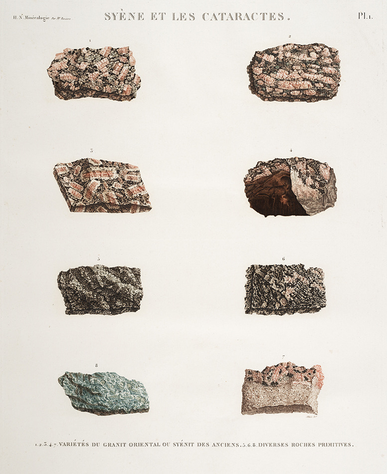 mapsinchoate:  Rocks and minerals of Egypt. From Napoleon I, Description de l'Egypte: Histoires Naturelles Planches. Volume 2 bis. Mineralogie. 1809.