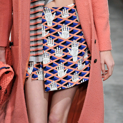 openingceremony:  Detail of the day: This hand print motif from the Opening Ceremony Fall/Winter 2014 collection. Watch the women's runway looks here.
