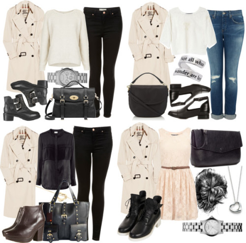 Requested Coat by ieleanorcalderstyle featuring zip bags  Lace skater dress, $21 / Topshop / H&M , $46 / Zara  top / Burberry double breasted trench coat / Topshop ripped jeans / Topshop / Topshop / Topshop lace booties / Alibi / Topshop cut out boots / Topshop black booties / Zara zip bag / Mulberry leather handbag, $1,415 / Mulberry satchel bag, $910 / Elsa Peretti pendant jewelry / Marc by Marc Jacobs stainless steel jewelry / Elsa Peretti open heart necklace, $660 / Michael Kors bracelet watch / Pendant jewelry