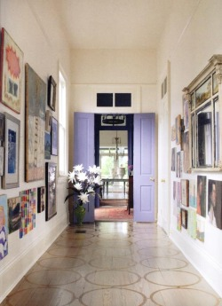 thedecorista:  lavender doors in the hallway