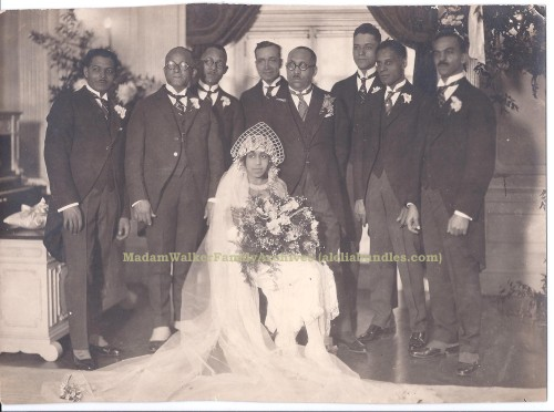 vintagebrides:   Mae Walker and Dr. Gordon H. Jackson with their groomsmen, 1923 Click the photo source for details about their wedding dubbed the social event of the year during the Harlem Renaissance era of the 1920's as well as Ms. Walker's fascinating history.
