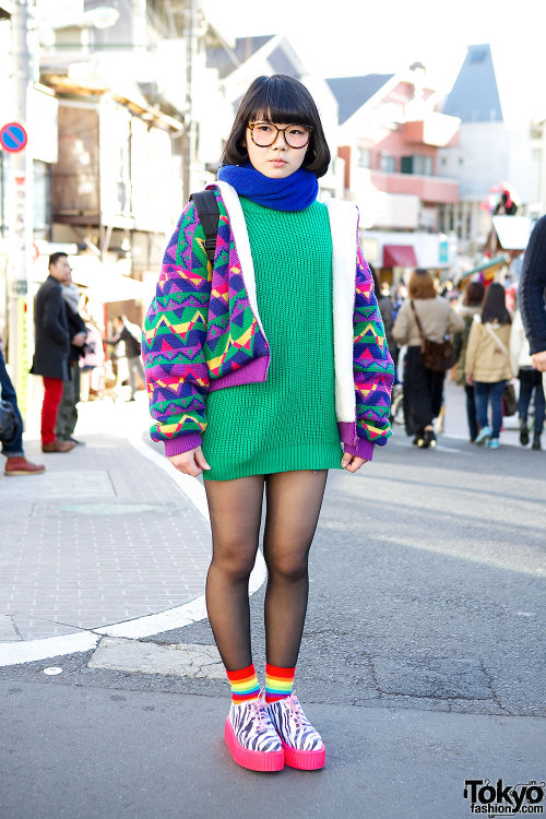 tokyo-fashion:  16-year-old Harajuku girl Riko in glasses w/ neon zebra-print creepers.