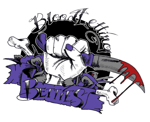 ncillustrationrollerderby:  Bloodletting Betties Logo for Slaughterhouse Derby Girls C-Team, ink/digital 2012
