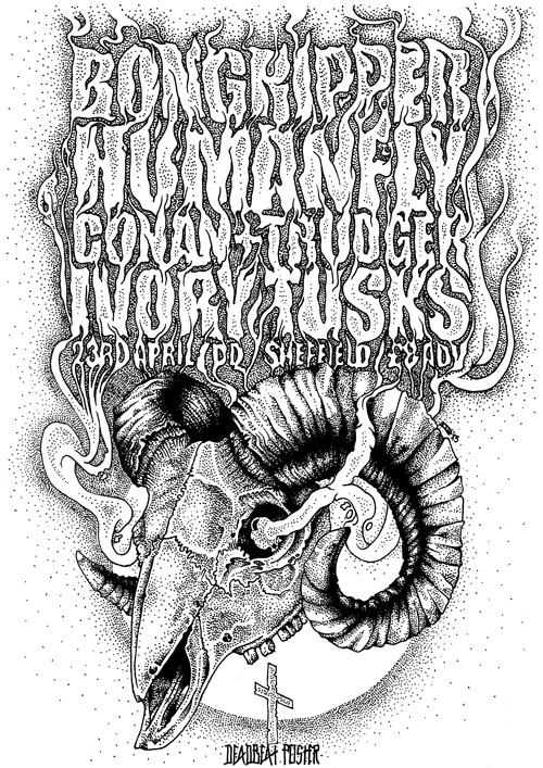 Hail. Satan. Worship. Doom. Hand drawn poster for a Bongripper show. Reblog.