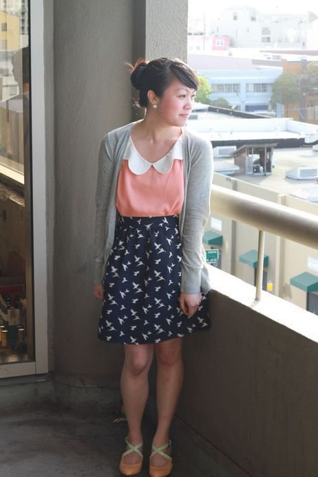 ModJamie E's hummingbird print skirt caused quite an excited buzz at the office recently. Check out our Style Gallery for more workplace inspiration.