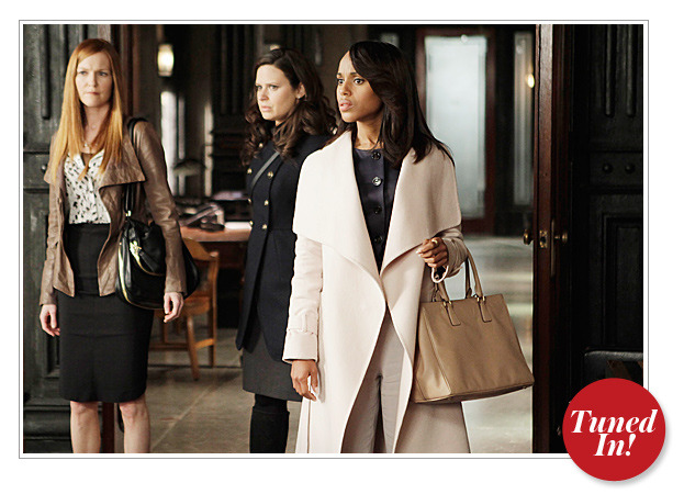 "What Olivia Pope worn in Any Questions. Last night I caught onto how Olivia Pope isn't wearing her signature Gladiator Armor and I'm glad that Lyn Paolo explained the reason behind that to Instyle.com.  The hunt for the White House mole continues and—more importantly!—Olivia (Kerry Washington) and Fitz's (Tony Goldwyn) relationship is about to get real on this week's all-new episode of ABC's hit political drama Scandal. With so many heavy situations at hand, costume designer Lyn Paolo reflected the plotline by using subtle cues when dressing Washington. ""We used darker tones in [Olivia's] costume to reflect the dark undertones of her soon-to-be-made decisions,"" Paolo told InStyle.com. Case in point: The outfit shown here, which includes a navy blue Christian Dior satin jacket, pale pink Ferragamo coat, tan Prada purse, and light gray Armani pants. ""Olivia is torn, should Fitz give up everything for her, will it work, how can they be together without destroying his Presidency?"" added Paolo. We can't wait to watch what happens as things heat up!  Looking back now, Olivia's fashion pick is further proof of her standing down and letting Fitz be in control. She wears the white hat/white jacket when she's about to handle/gladiate/fix THINGS. This is just further proof at how amazing Lyn Paolo truly is."