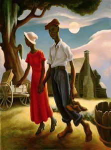 blantonmuseum:  Thomas Hart Benton Romance, 1931-1932 Tempera and oil varnish glazes on gesso panel on board Gift of Mari and James A. Michener, 1991 This work, painted when the artist was at the midpoint of his life, provides a lyrical view of a young couple on a relaxed evening stroll. Drawing on his knowledge of both Old Master techniques and modernist ideas, which he had gleaned from several years spent studying in Paris, Benton crafted a lively composition whose rhythmic alignment of forms conveys a sense of poignant familiarity.  Love this Benton at the Blanton!