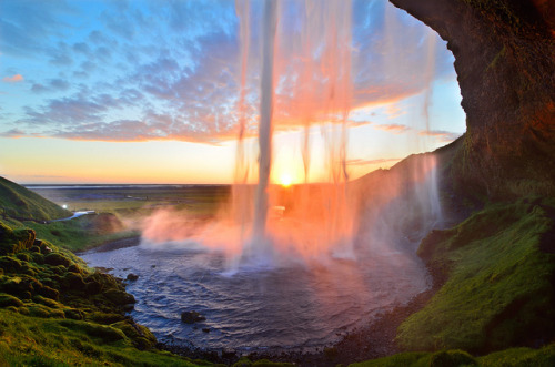 wejyob:  Sunset Curtain Call at Seljalandsfoss by David Shield Photography on Flickr.