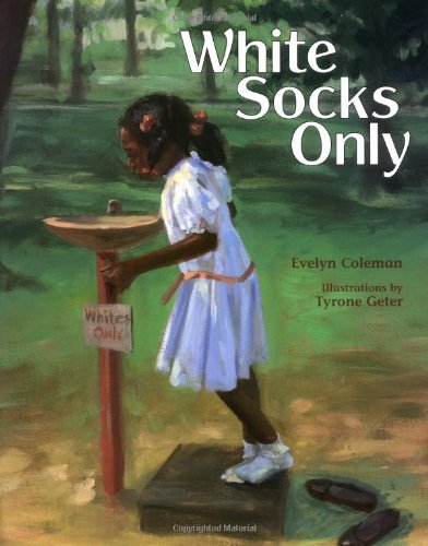 "soulbrotherv2:  White Socks Only by Evelyn Coleman and illustrated by Tyrone Geter Subtle and stirring, this tale-within-a-tale begins with an affectionate exchange between an African American girl and her grandmother, then telescopes to encompass an electrifying moment fraught with personal and political significance. Grandma tells of sneaking off to town one sizzling summer day when she was a child, ""planning on doing no good."" Approaching a water fountain, the thirsty girl mistakes its ""Whites Only"" sign to mean that she should take off her shoes so that only her white socks will touch the step stool. A ""big white man"" grabs her and removes his belt to whip her-prompting African American bystanders to remove their shoes, too, and defiantly drink from the fountain. At home, the narrator's mother proclaims she can now go to town by herself, "" 'cause you're old enough to do some good""; in town, ""the 'Whites Only' sign was gone from that water fountain forever."" Though Coleman (The Footwarmer and the Black Crow) complicates the story with some unnecessary subplots, the impact is strong. Geter's (Dawn and the Round-to-it) full- and double-page paintings can be hazy, but they conduct the story's considerable emotional charge. Ages 5-9."
