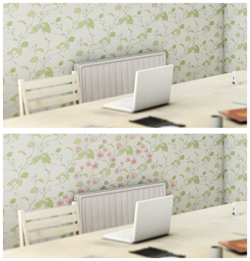 wallpaper that turns into a pattern of flowers when it comes in contact with heat