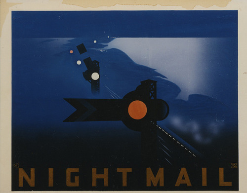 heaveninawildflower:  Night Mail poster by British Postal Museum & Archive on Flickr. Night Mail poster 'The film 'Night Mail' was produced by the GPO Film Unit in 1936. An early example of documentary filmmaking, Night Mail showed the journey of the Euston to Glasgow overnight postal express through the eyes of those who worked on the train'. British Postal Museum and Archive