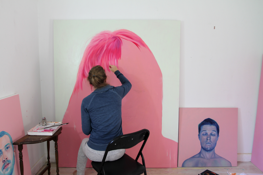 jenmann:  Painting big pink hair