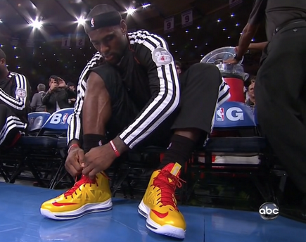"Lebron's shoes for today's game: ""Carmex"" LeBron Xs."