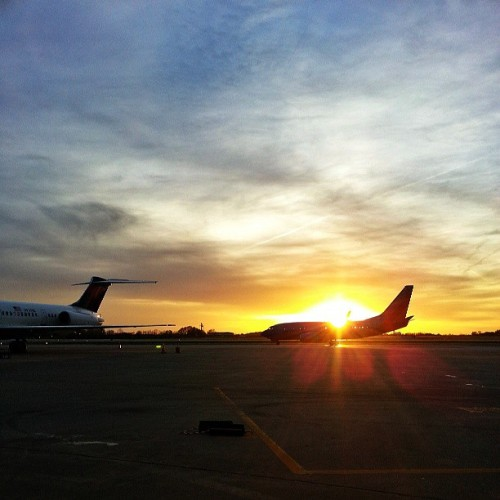 It's another #cak #airport #sunset season. This one featuring actual planes in the sunset, haha. #snapseed #nootherfilter