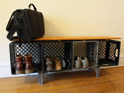 DIY project du jour:  Got milk (crates)? Turn plastic crates into a credenza.   Friend of Unconsumption Will Holman made this one, and he provides a tutorial over on Instructables here, so you can make one of your own. Find more crate reuse here.