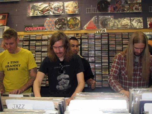 Brann Dailor, Mikael Åkerfeldt, and Martin Axenrot shopping for vinyl…O_O