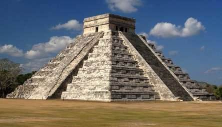 historical-nonfiction:  Chichen Itza was built by the Maya Civilization, who were known as fantastic mathematicians, credited with the inventing 'zero' within their counting system. At 78 feet tall, the structure of El Castillo (or 'castle') within Chichen Itza is based on the astrological system. Some quick facts about this mathematically interesting building are: the fifty two panels on each side of the pyramid represent the number of years in the Mayan cycle the stairways dividing the eighteen tiers correspond to the Mayan calendar of eighteen months  the steps within El Castillo mirror the solar year, with a total of 365 steps, one step for each day of the year.