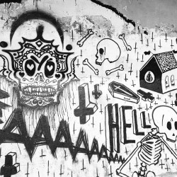 💀 #tag #death #skull #hell #bones #wall #life #black #white #art