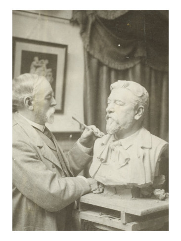 hismarmorealcalm:  Gustave Crauk (1827-1905) works on his bust of Gustave Eiffel