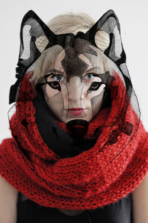 red knits&wolf illustration - little red riding hood&the good wolf #3