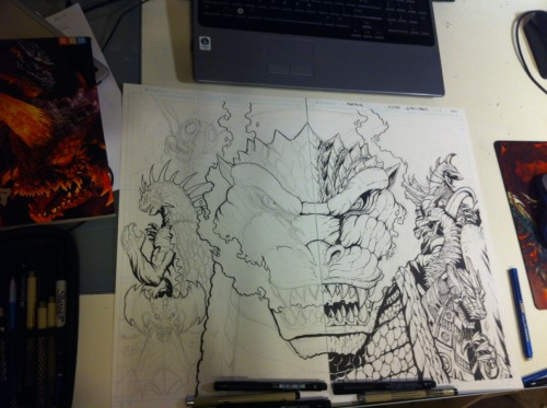 "spankzilla85:  A little ""making of"" goodness with my wraparound cover for GODZILLA: RULERS OF EARTH!"