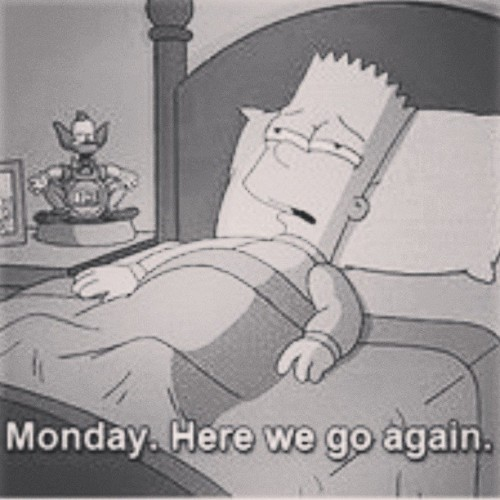 the-poet-and-the-music:  Segunda, voltar a rotina :( #Bart #Simpson #Monday