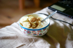 Pre-run breakfast. Cottage cheese with banana and cinnamon.