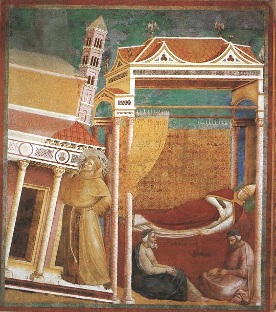 theasmontichronicles:  Giotto (Ambrogio Bondone), Legends of St. Francis (6): the dream of Pope Innocent III: Francis support the falling Church. Assisi, Basilica of St. Francis. Like his eponymous saint, the new Pope Francis is also facing mighty tasks, and may God bless him.