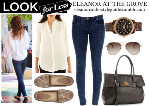 LookForLess - Eleanor at The Grove  MNG by Mango / Denim skinny jeans, $18 / Fat Face mocassin shoes, $61 / Handbag / Style & Co.  watch / Mango aviator sunglasses