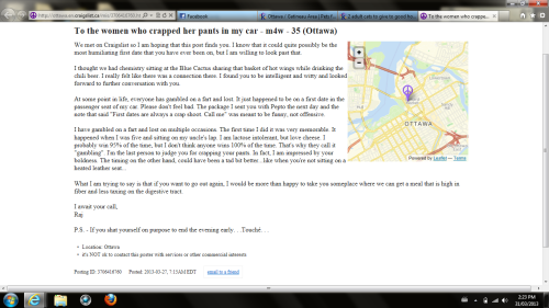 This might be the greatest Craigslist posting I've unearthed since the free PopTarts one of last year.