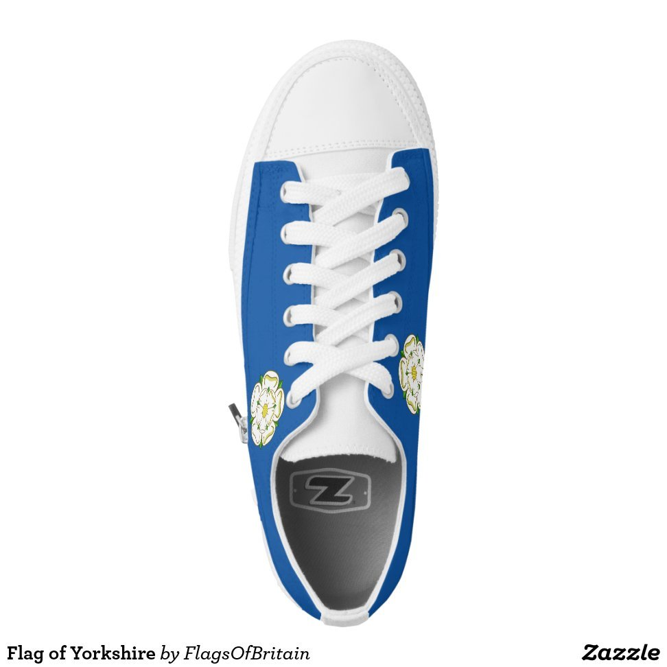 Flag of Yorkshire Low-Top Sneakers - Unique Canvas Shoes With Interchangeable Tops  External image  Buy This Design Here: Flag of Yorkshire Low-Top Sneakers Created by Fashion Designer: FlagsOfBritain Look sporty, stylish and elegant in a pair of unique custom sneakers! Each pair of custom Low Top ZIPZ Shoes is designed so you can fit your style to any wardrobe, mood, party or occasion. Fashionable sneakers for kids and adults, ZIPZ shoes give you a unique and personalized way to express yourself!Flag of Yorkshire Low-Top Sneakers Product Information - Unisex sizing: 4-13 Men's | 6-15 Women's - Material and fabric: Durable canvas tops, rubber soles - Buy multiple pairs! ZIPZ shoes are interchangeable, the top cover can be zipped on and off so you can easily switch up your style on the go - Rubber soles are manufactured with extra cushioned insoles and a specially designed arch support system to give your feet a comfortable and healthy fit - Quality you can trust: ZIPZ has been independently tested by SATRA for wear, use, and durability - Additional cost for designing on the tongue of the shoe - Flag of Yorkshire Low-Top Sneakers are printed in Santa Fe Springs, CA #sneakers#shoes#footwear#style#fashion#sports#fashionista#OOTD#streetwear#fashionblogger