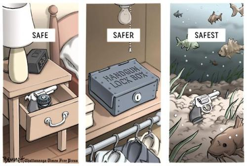 azspot:  Clay Bennett: Gun Safety  This cartoon failed to note that the captions were written by a potential home intruder, who is increasingly safer the more difficult it is for his victims to protect themselves.