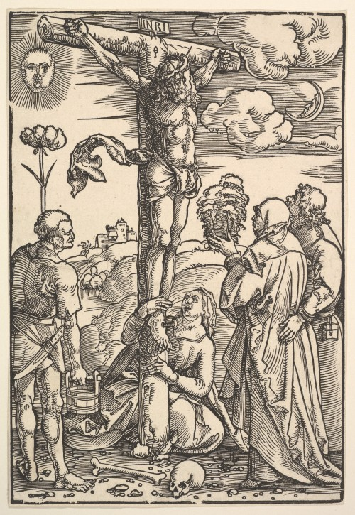 Hans Baldung Grien - Christ on the Cross with the Virgin, Saints Longinus, Mary Magdalen, and John; New York Metropolitan Museum of Art; 1505
