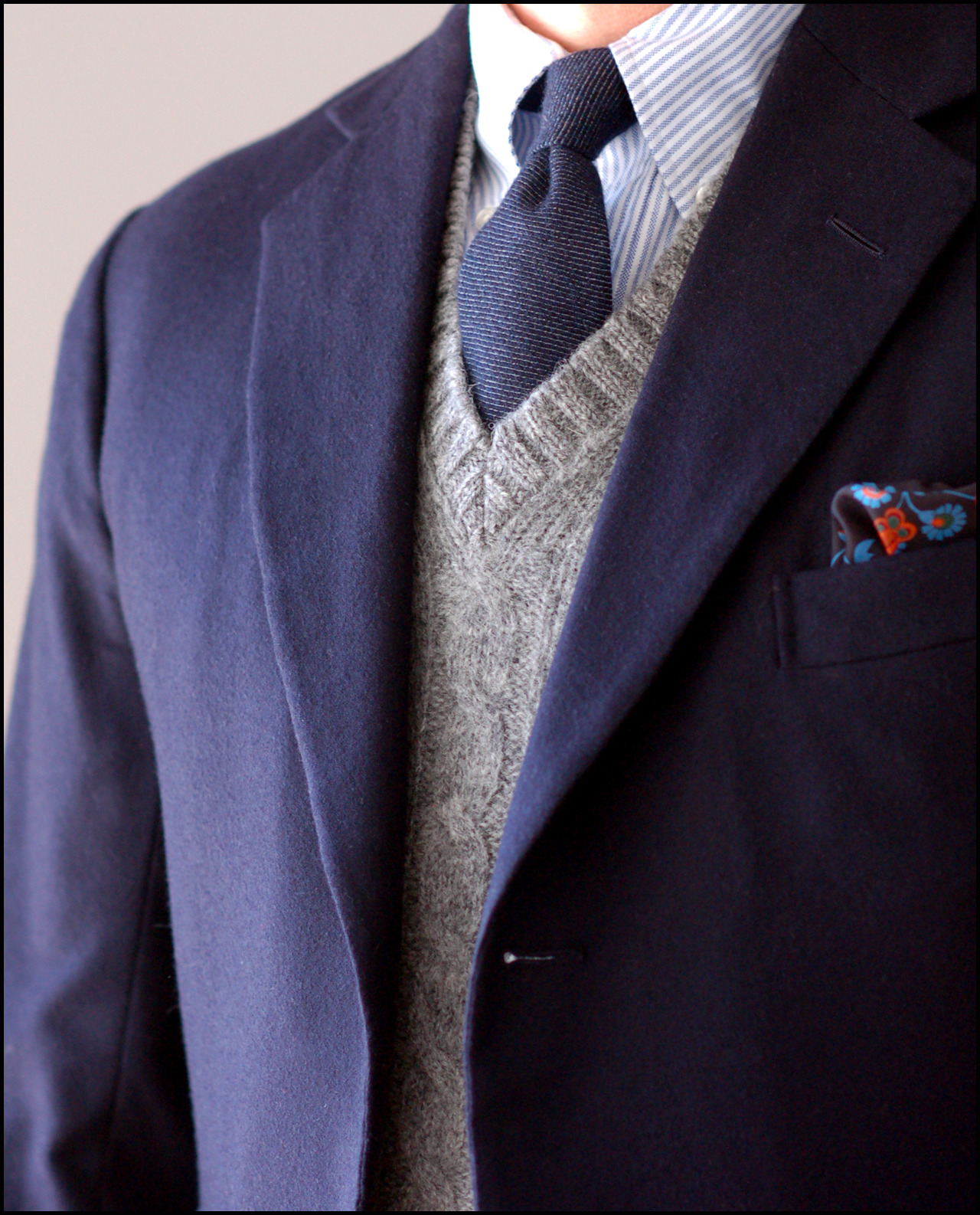 A Chilly Winter Saturday Rig. Steed (Edwin DeBoise) bespoke navy odd jacket in a thick, meaty, plush Fox woolen flannel; Mercer polo collar shirt; E. & G. Cappelli cashmere tie; ye olde McGeorge Shetland vest; Holland & Holland square.