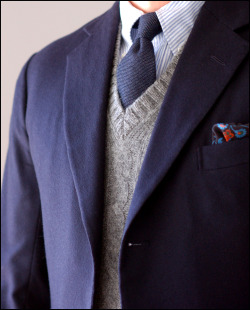 voxsart:  A Chilly Winter Saturday Rig. Steed (Edwin DeBoise) bespoke navy odd jacket in a thick, meaty, plush Fox woolen flannel; Mercer polo collar shirt; E. & G. Cappelli cashmere tie; ye olde McGeorge Shetland vest; Holland & Holland square.