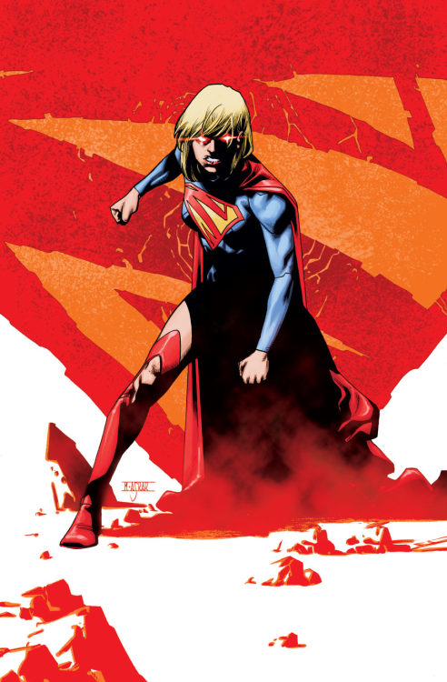 A striking cover design by Mahmud Asrar for Supergirl #21.