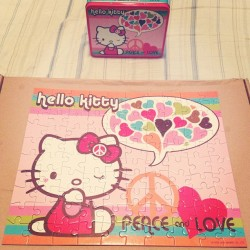 Finnaly put the puzzle together :D #hello #kitty #HK #hellokitty #puzzle #cute #pink #hearts #peace #love