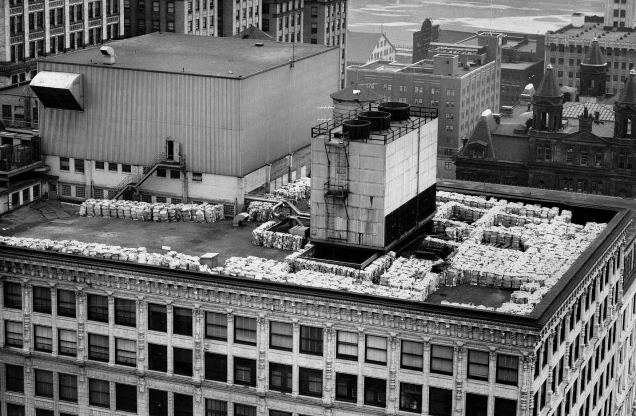 Rubbish was stored on the roof of the Kaufmann store. (Photo credit: Unknown)