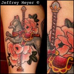 Kitty cat carousel #meow #unbreakabletattoo #jeffreymeyer #tattoo #peony #cat #losangeles  (at Unbreakable Tattoo)