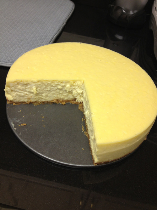 Homemade cheesecake, because the calories don't survive after the 4-hour bake time and the 24-hour cooling period. And because it looks like Pacman. Bitch eats and eats but never gains any weight. Our zero-cal idol.
