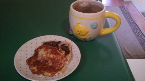 Breakfast: Peach banana pancake; green tea