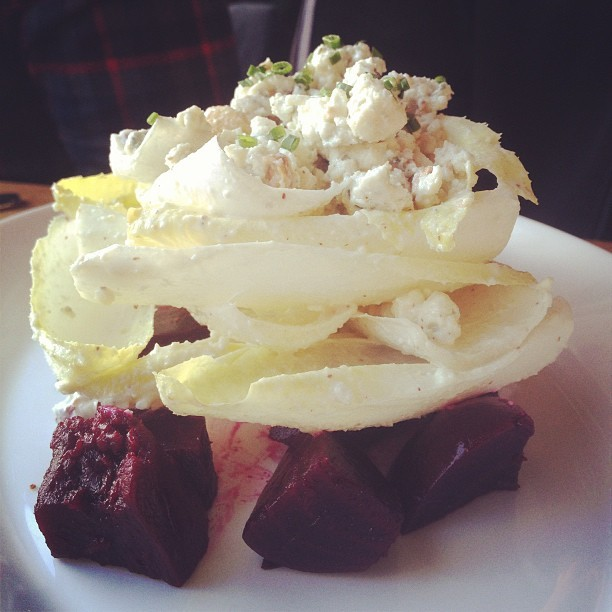 Endive salad with beets and blue cheese. #pdxeats #foodie #delicious #eatingout #chef #cooking #instagood #ig #love (at Noble Rot)