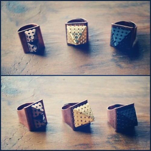 knarfsicnarf:  Pyramid Cocktail Rings. 💍💍💍 Available on byfrancisfrank.com  #etsy #handmade #jewelry #rings #accessories #byfrancisfrank #fashion #diy #boho