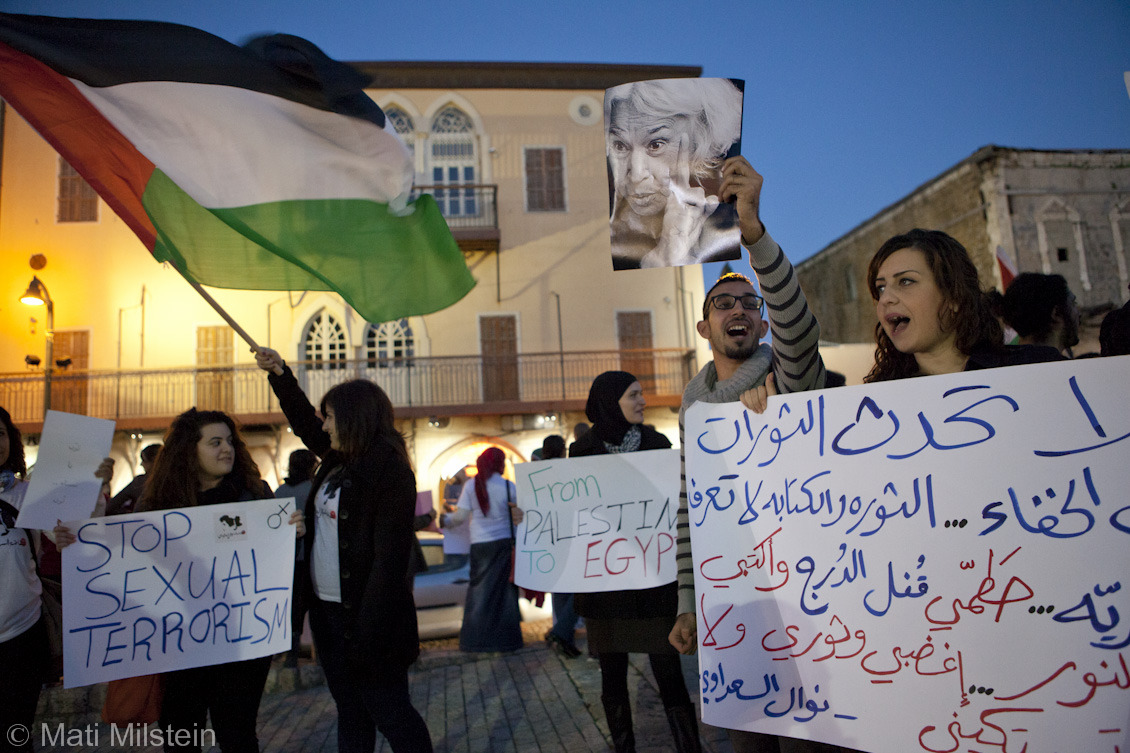Women's Intifada  Palestinian women and men in Jaffa demonstrate in solidarity with Egyptian women struggling against sexual harassment and assault.