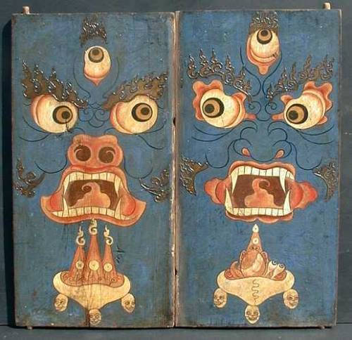 "bulletproofbhatki:  A pair of thorgum doors  Tibet 18th-19th c. wood 29""x28"" (combined)"