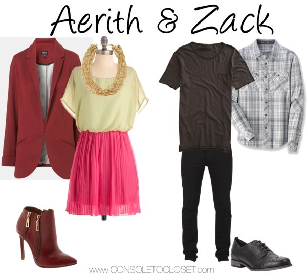 Aerith & Zack (Final Fantasy) by ladysnip3r  Aerith: Nordstrom - TopShop Jet Blazer, $80/ Piperlime - Schutz Frost Boots, $125/ H&M - Necklace, $12/ ModCloth - Love Me Duo Dress, $50  Zack: Cheap Monday - Tight Od Black Pants, $90/ Rei - Nau Interwoven Shirt, $68/ Swell - Element Emerald Collection Shirt, $30 These outfits are inspired by Aerith and Zack from Final Fantasy. These outfits are classy and perfect for Valentine's date night!