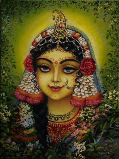 71 The crest jewel of all beautiful girls is now manifest deep in Vrndavana forest, a girl who is the devotees' cintamani jewel, a girl who is a jewel streaming the nectar of great bliss, a girl who with the slightest amorous signal from Her eyebrows bewilders He who is the jewel of Vraja.  72 Sri Radha, whose waves of sidelong glances gave birth to many millions of Kamadevas proudly standing with twanging archers' bows, and who, in the first entrance of youth has become wonderful and glorious with limitless floods of the greatest sweetness, is our queen.  73 Brahma, Siva, and the demigods are not qualified to place on their heads even a single particle of dust from Radha's feet. Even so, they who take shelter of the gopis in the course of time eventually attain Sri Radha, who is the great treasure of the nectar ocean of love. O destiny, I bow down before you.  74 Let the affectionate relatives stay far away. Let the friends and servants stay far away. How can anyone approach? In a forest grove King Vrsabhanu's daughter now enjoys pastimes with Her passionate lover. Standing at the doorway, I, Her dear maidservant, will hear the tinkling of the ornaments at Her waist.  75 O Sri Radha, in my heart may I always see in meditation the softness of Your fair limbs, the sweetness of Your smile, the longness of the corners of Your eyes, the heaviness of Your breasts, the slenderness of Your waist, the slow grace of Your steps, the broadness of Your hips, the curve of Your eyebrows, the redness of Your bimba-fruit lips, and the coolness of the nectar in Your heart.