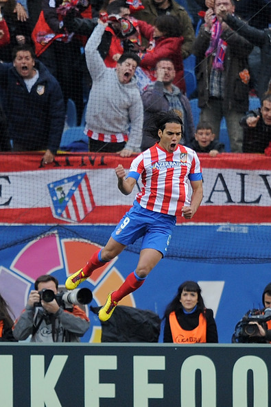 Radamel celebrates scoring Atletico's opening goal against Real Madrid. Getty