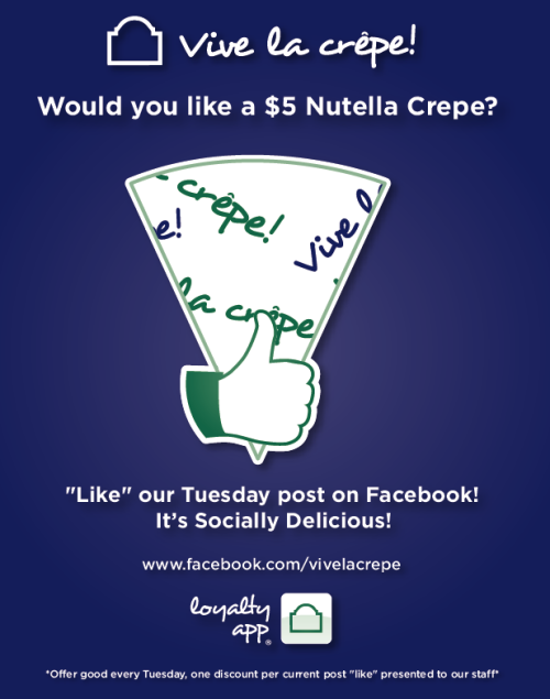Tomorrow is 5 Dollar Nutella Tuesday! Like us on Facebook to receive your Nutella Crepe for just 5 Dollars.  www.facebook.com/vivelacrepe