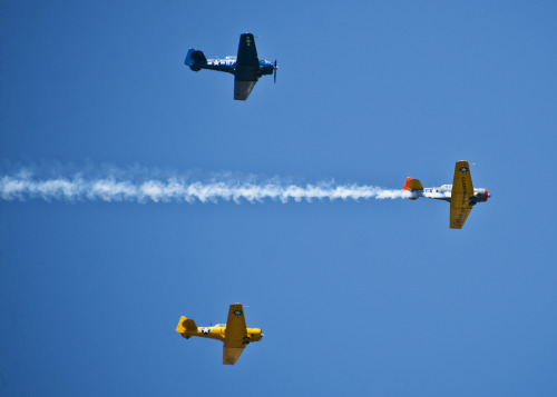 T-6 aircraft fly in formation celebrating the Parade of Heroes and the Doolittle Raiders April 20. The T-6s were part of a parade of vintage World War II era aircraft, including the B-25, which performed flyovers during the event. (U.S. Air Force photo/Samuel King Jr.)